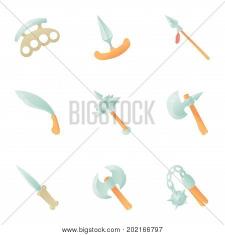 Metal weapon icons set. Cartoon set of 9 metal weapon vector icons for web isolated on white background
