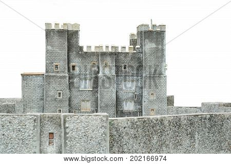 Old castle in Europe isolated on white background