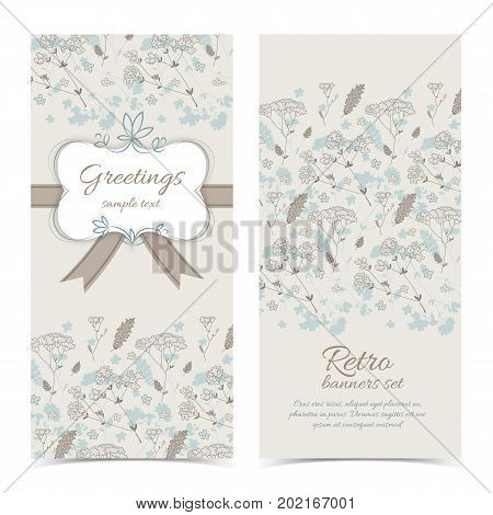 Retro greeting vertical banners with frame text ribbon bow on light flowery background vector illustration