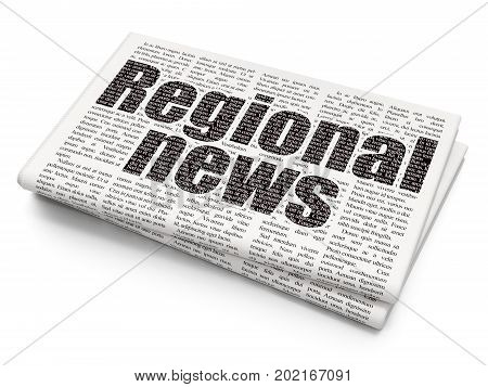News concept: Pixelated black text Regional News on Newspaper background, 3D rendering