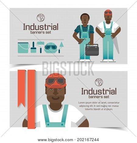 Industrial banners with african workmen and tools red ribbon on light background isolated vector illustration