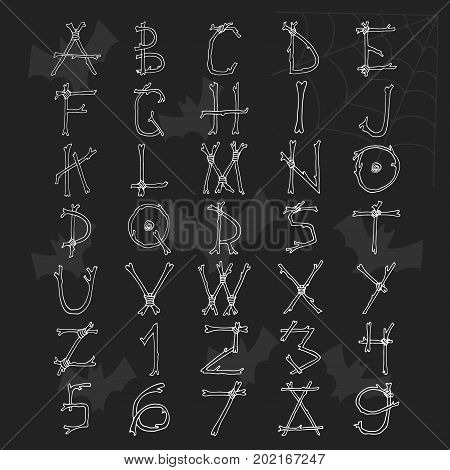 Unique Hand Drawn Helloween Font. Cute Latin Alphabet Letters With Bones And Branches. Abc Mistic Ve