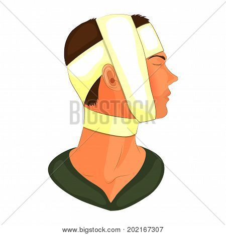 vector illustration of bandaging the patient's head