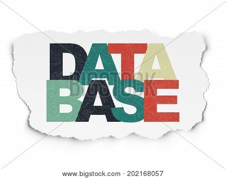 Programming concept: Painted multicolor text Database on Torn Paper background