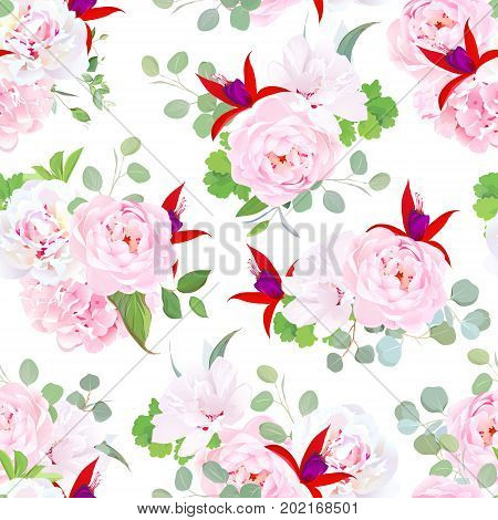 Garden wild rose, pink hydrangea, peony, red fuchsia, white layered hibiscus, eucalyptus, green plants seamless vector pattern. Summer wedding floral design print. Bouquets of beautiful flowers.