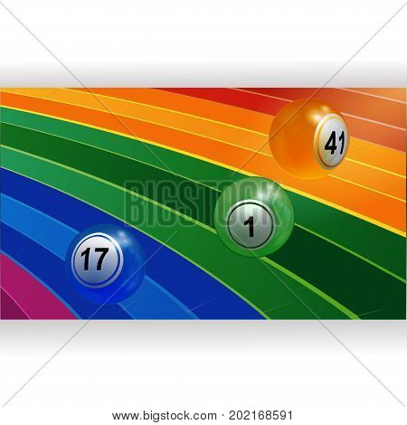 3D Illustration of Three Bingo Lottery Balls Rolling Over Curved Multicoloured Rainbow Panel