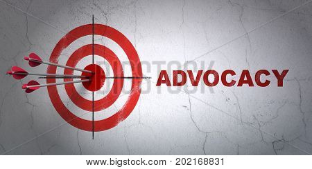 Success law concept: arrows hitting the center of target, Red Advocacy on wall background, 3D rendering