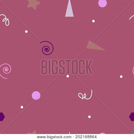 Seamless tiny pink birthday pattern. Abstract gentle holiday background for wrapping print textile fabric. Gurley pattern. Vector illustration