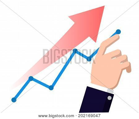 Finger up chart arrow. Businessmen manages financial growth graph. Profit growing concept. concepts for business analysis-Flat design illustration