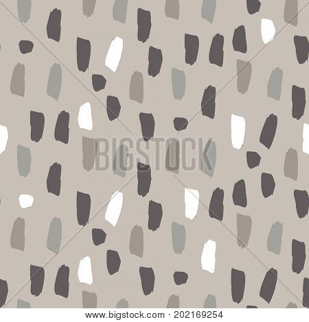 Paint soft pastel brushstrokes gray and brown seamless vector pattern. Acrylic brush natural color smears artistic background.