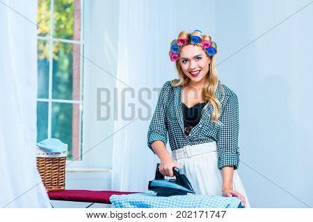 Housewife Ironing Laundry