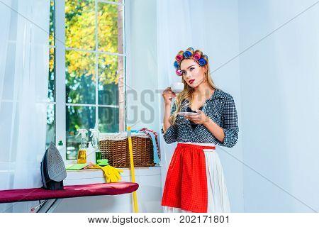Housewife Having Coffee Break