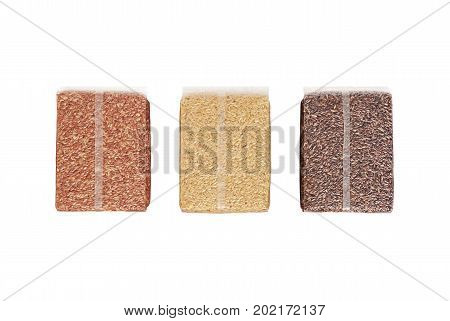 Red Jasmine Rice Jasmine Brown Rice and Riceberry in Plastic Clear Bag Isolated on White Background Clipping Path
