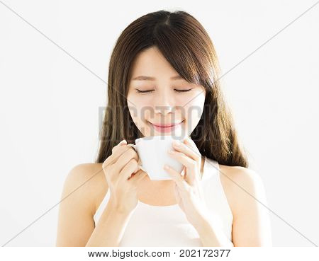 happy beautiful young asian woman drinking coffee