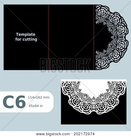 C6 paper openwork greeting card wedding invitation lace invitation card with fold lines object isolated background laser cut template vector illustration poster