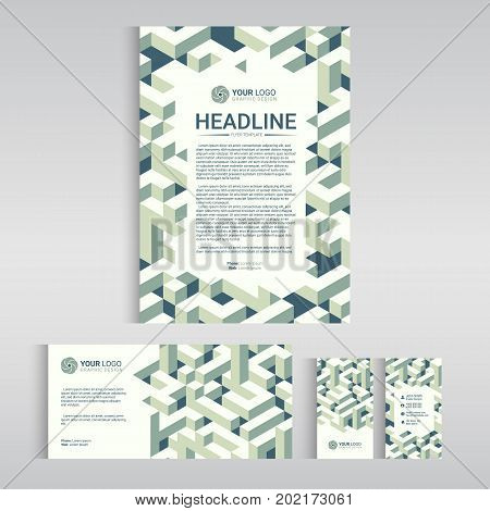 Business identity design templates. Stationery set - flyer business template name card letterhead with Isometric cubes pattern. Vector illustration.