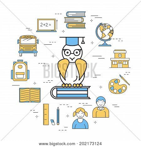 Vector linear round concept of school education. Isolated illustration with outline icons in blue and yellow colors. Wise owl in glasses sits on a book, building and pupils, bus, globe and supplies