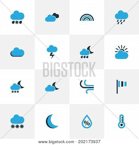 Climate Colorful Icons Set. Collection Of Cloudy Sky, Wind Speed, Arc And Other Elements