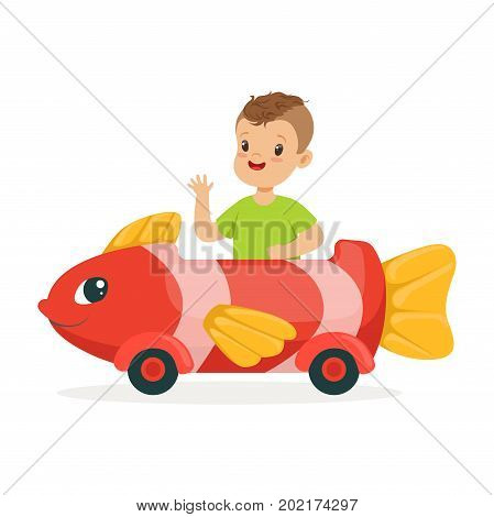 Cute little boy riding on toy fish car, kid have a fun in amusement park cartoon vector Illustration on a white background