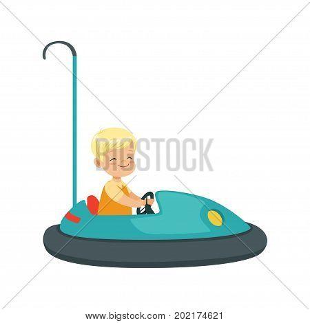 Cute little boy riding bumper car, kid have a fun in amusement park cartoon vector Illustration on a white background