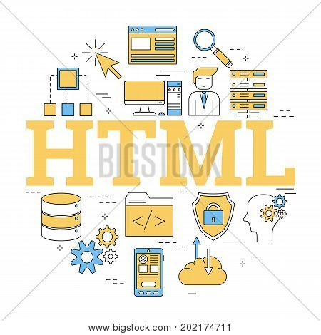 Vector linear round concept of Hyper Text Markup Language - HTML. Isolated illustration with outline icons in blue and yellow colors. Square web banner
