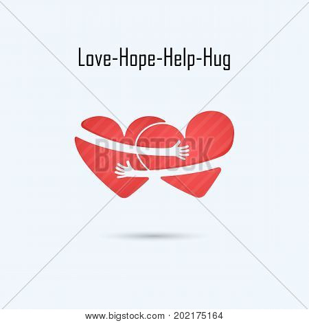 LOVE-HOPE-HELP-HUG vector logo design template.Aid & love icon.Wedding logo.Bridegroom & Bride icon idea concept.Familyman & womanboy & girlBoyfriend & girlfriend.Love & Heart Care logo.Heart shape and healthcare & medical concept.Vector illustration