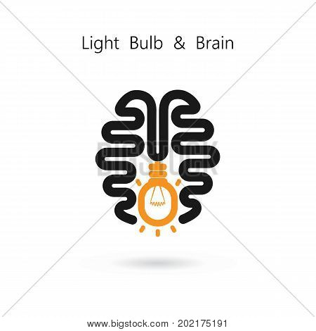 Creative light bulb and human brain abstract vector design banner template.Corporate business industrial creative logotype symbol. Business and industrial concept.Vector illustration