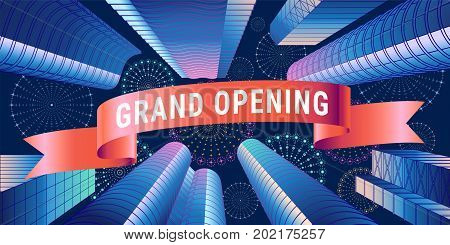 Grand opening vector banner. Template festive design element with red ribbon for opening ceremony