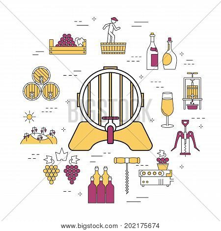 Vector linear round concept of barrel of wine. Isolated illustration with outline icons in purple and yellow colors. Square web banner of viticulture, winemaking and storage of products