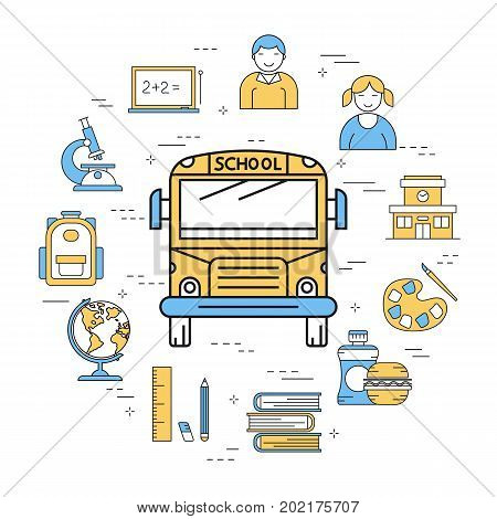 Vector linear round concept of school bus for transportation. Isolated illustration with outline icons in blue and yellow colors. Front of bus, school building, globe, sandwich and school supplies
