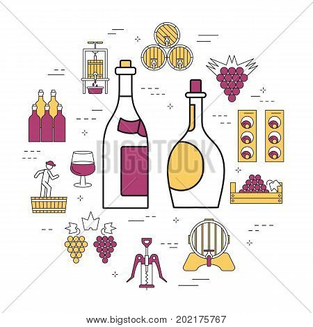 Vector linear round concept of red and white bottles of wine. Isolated illustration with outline icons in purple and yellow colors. Square web banner of viticulture, winemaking and storage of products
