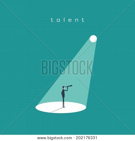 Business recruitment or hiring vector concept. Businessman standing in spotlight or searchlight looking for new career opportunities. Eps10 vector illustration.