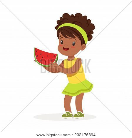 Sweet little african girl enjoying eating watermelon cartoon vector Illustration on a white background