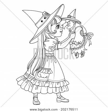 Cute Girl In Witch Costume Holding A Doll Old Witch Outlined Coloring Page
