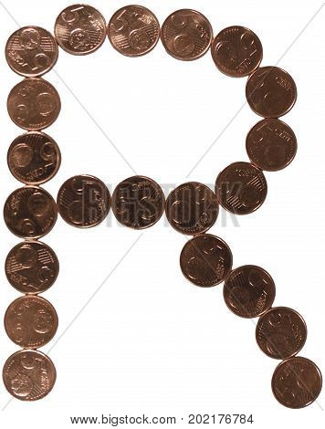 Arial Coin (5 eurocents) alphabet. Uppercase 'R'