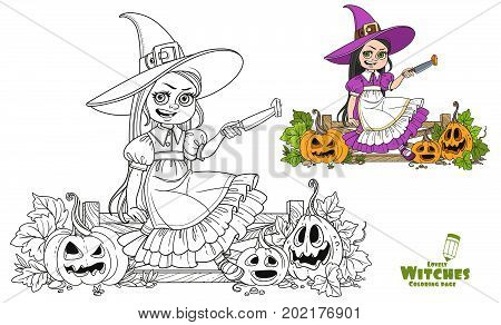 Cute Girl In Witch Costume Sitting On The Fence With A Knife And Cut The Lantern From A Pumpkin Colo