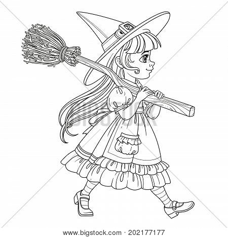 Cute Girl In Witch Suit Goes Forward Holding A Broom For Flights On Her Shoulder Outlined For Colori