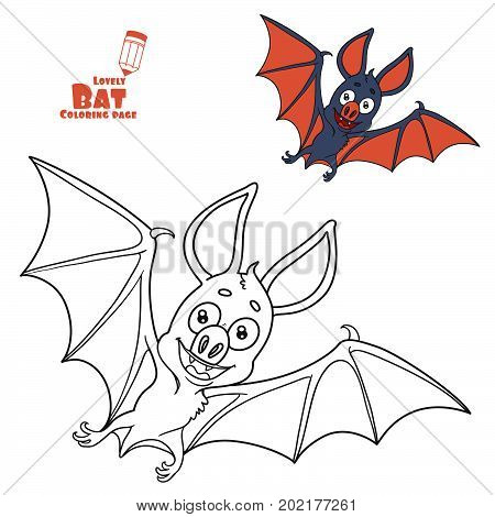 Cute Halloween Bat Color And Outlined For Coloring Page