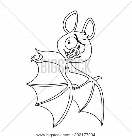 Cute Halloween Bat Flying Outlined For Coloring Page