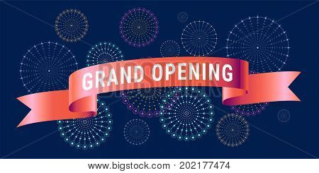 Grand opening vector design. Template banner with fireworks for store opening event