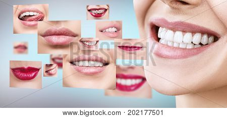 Collage of healthy smiling people. Dental health concept. Over blue background.