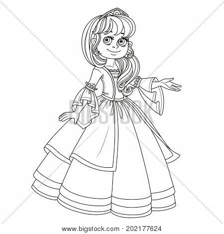 Cute princess teen in lush dress and tiara shows away from herself outlined picture for coloring book on white background