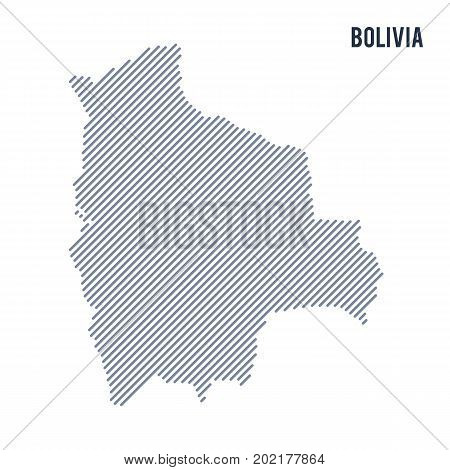Vector Abstract Hatched Map Of Bolivia With Oblique Lines Isolated On A White Background.
