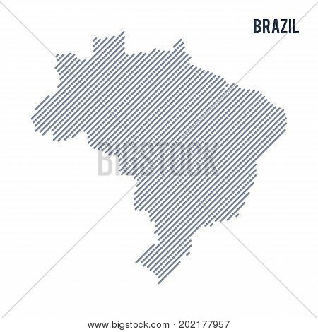 Vector Abstract Hatched Map Of Brazil With Oblique Lines Isolated On A White Background.