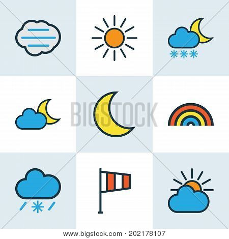 Air Colorful Outline Icons Set. Collection Of Moonbeam, Sunshine, Tornado And Other Elements