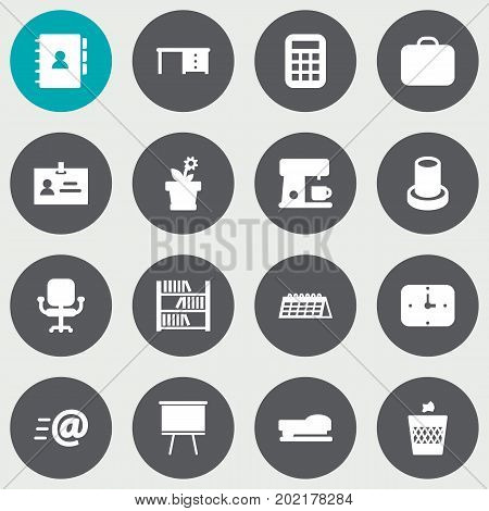 Collection Of Data , Stand , Espresso Elements.  Set Of 16 Bureau Icons Set.