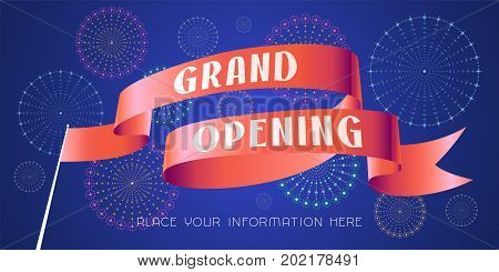 Grand opening vector illustration. Banner with red ribbon for opening ceremony