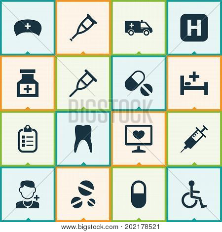 Drug Icons Set. Collection Of Hospital, Cure, Diagnosis And Other Elements
