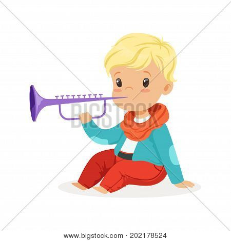 Cute little blonde boy playing clarinet, young musician with toy musical instrument, musical education for kids cartoon vector Illustration on a white background