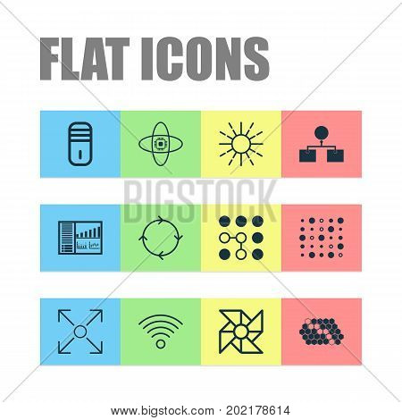 Learning Icons Set. Collection Of Laptop Ventilator, Computing Problems, Mainframe And Other Elements